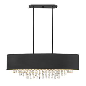 Sparkler Black with Gold Leaf Eight-Light Linear Chandelier