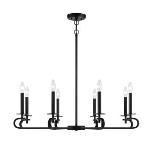 Torino Matte Black Eight-Light Chandelier
