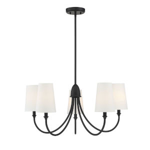 Cameron Matte Black Five-Light Chandelier