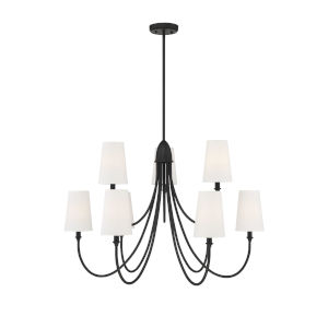 Cameron Matte Black Nine-Light Chandelier