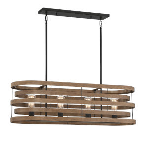 Blaine Natural Walnut and Black Four-Light Chandelier