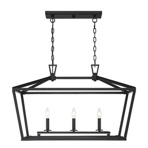 Townsend Matte Black 16-Inch Three-Light Pendant