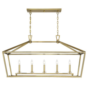 Townsend Warm Brass Five-Light Pendant