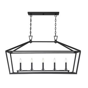 Townsend Matte Black Five-Light Pendant
