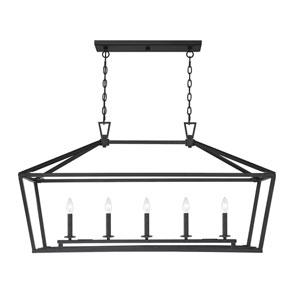 Townsend Matte Black Five-Light Pendant