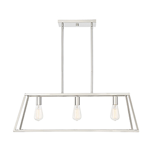 Dento Polished Nickel Three-Light Linear Chandelier