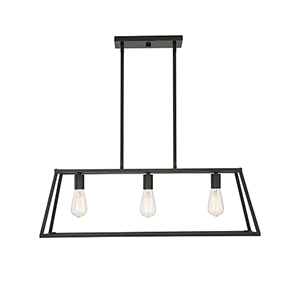 Dento Classic Bronze Three-Light Linear Chandelier