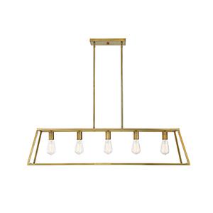 Denton Warm Brass Five-Light Linear Chandelier