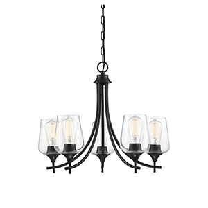 Octav Black Five-Light Chandelier