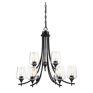Octav Black Nine-Light Chandelier