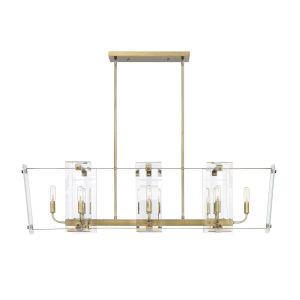 Everett Warm Brass Eight-Light Linear Chandelier