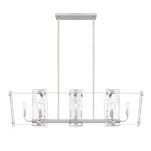 Everett Satin Nickel Eight-Light Linear Chandelier