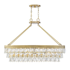 Windham Warm Brass Eight-Light Linear Chandelier