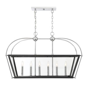 Dunbar Matte Black with Polished Chrome Accents Six-Light Pendant