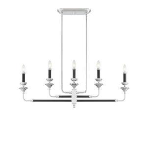 Davidson Black and Chrome Five-Light Linear Chandelier