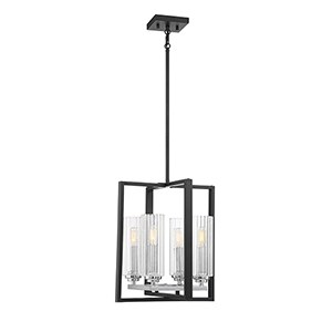 Redmond Matte Black with Polished Chrome Accents Four-Light Lantern