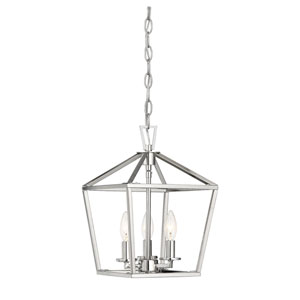 Townsend Polished Nickel 10-Inch Three-Light Pendant