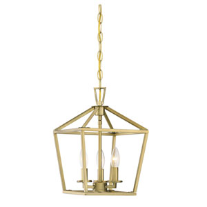 Townsend Warm Brass 10-Inch Three-Light Pendant