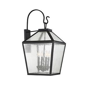 Woodstock Black Four-Light Outdoor Wall Lantern
