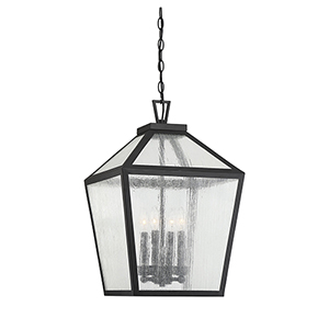 Woodstock Black Four-Light Outdoor Hanging Lantern