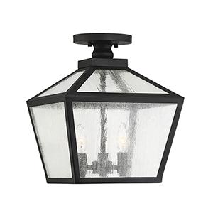 Woodstock Black Three-Light Outdoor Flush Mount Lantern