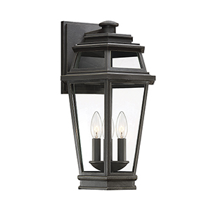 Holbrook Textured Bronze With Gold Highlights Three-Light Outdoor Wall Lantern
