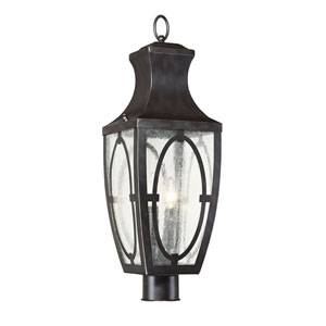 Shelton English Bronze and Gold Two-Light Outdoor Post Lantern