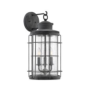 Fletcher Oxidized Black Three-Light Outdoor Wall Lantern