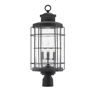 Fletcher Oxidized Black Three-Light Outdoor Post Lantern