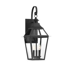 Jackson Black and Gold Highlighted Three-Light Outdoor Wall Mount