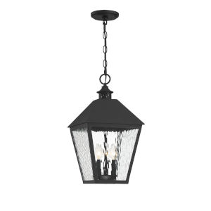 Harrison Matte Black Three-Light Outdoor Pendant
