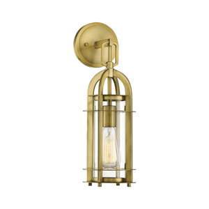 Merrill Warm Brass Five-Inch One-Light Outdoor Wall Mount
