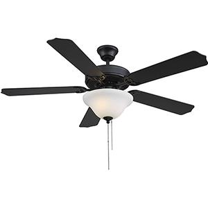 First Value Matte Black LED Two-Light Ceiling Fan
