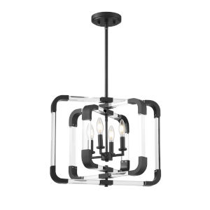 Rotterdam  Matte Black Four-Light Convertible Semi-Flush Mount