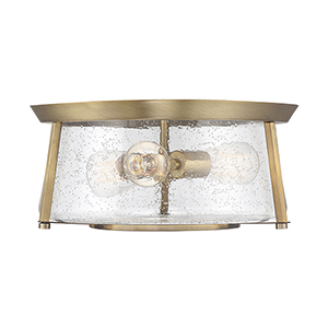 Dash Warm Brass Three-Light Flush Mount