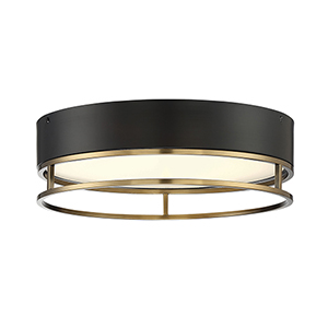 Creswell Warm Brass LED One-Light Flush Mount