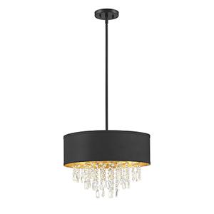 Sparkler Black with Gold Leaf Four-Light Semi Flush Pendant