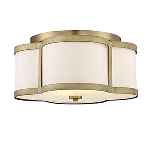 Lacey Warm Brass Three-Light Semi Flush
