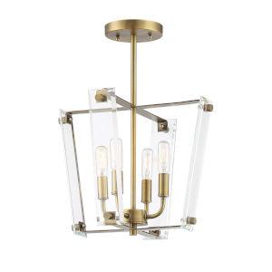Everett Warm Brass Four-Light Semi-Flush Mount