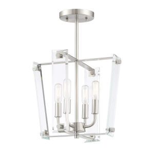Everett Satin Nickel Four-Light Semi-Flush Mount