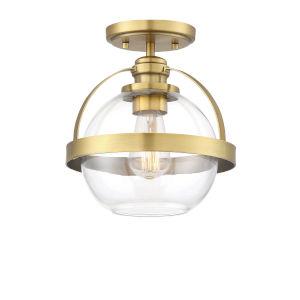 Pendleton Warm Brass One-Light Semi-Flush Mount