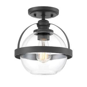 Pendleton Matte Black One-Light Semi-Flush Mount