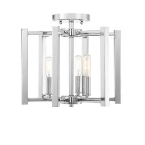 Benson Polished Nickel Three-Light Semi-Flush Mount