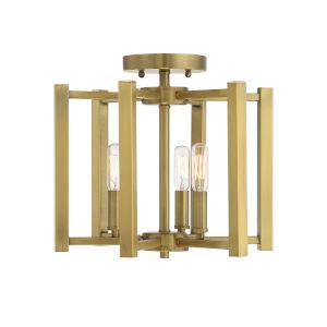 Benson Warm Brass Three-Light Semi-Flush Mount