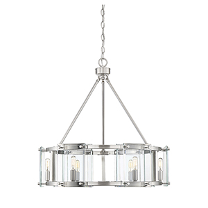 Prescott Satin Nickel Six-Light Pendant