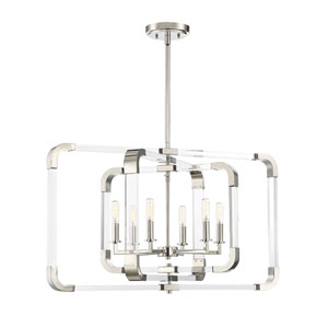 Rotterdam Polished Nickel 25-Inch Six-Light Chandelier