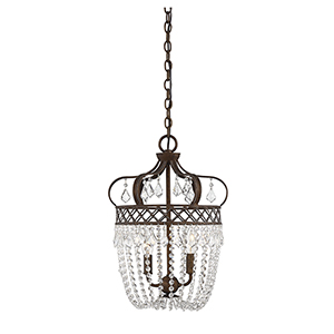 Rochelle New Tortoise Shell with Silver Two-Light Pendant