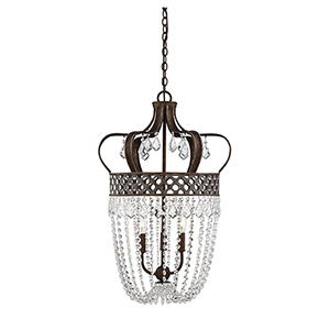 Rochelle New Tortoise Shell with Silver Three-Light Pendant