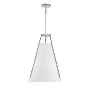 Newport Polished Nickel and White Four-Light Pendant
