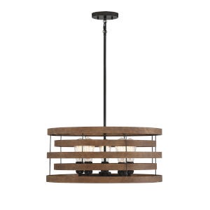 Blaine Natural Walnut and Black Five-Light Pendant